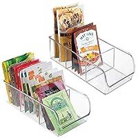 mDesign Plastic Food Packet Kitchen Storage Organizer Bin Caddy - Holds Spice Pouches...