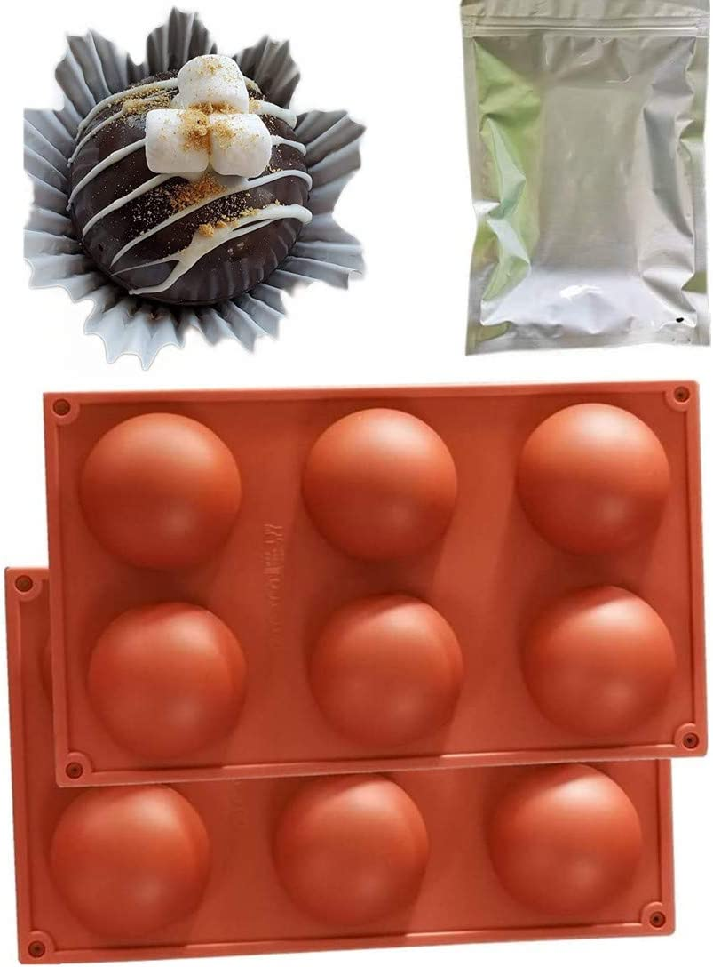2.6 inch 6 half Circle Round Food Grade Silicone Molds for baking,Chocolate dessert Ball mold,Set of 2