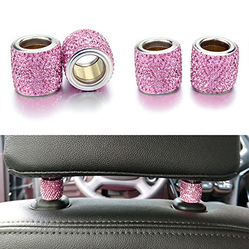 YINUO 4 Pieces Universal Chrome Bling Crystal Headrest Head Rest Collars Interior Decoration For Auto Car Truck SUV Vehicle (Pink)