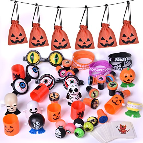 Halloween Party Supplies Toy Assortment Goody Bags for Kids' trick-or-treat Party Favor, Halloween Gifts, Birthday Party, School Classroom Rewards, Carnival Prizes – 72 PCs (Fun Kid Friendly Halloween Treats)