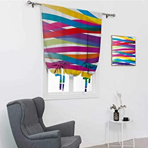"""GugeABC Colorful Bathroom Window Curtain, Multicolor Ribbon Design Abstract Design Vivid Rainbow Pattern Artistic Expression Rod Pocket Panel, Multicolor, 39"""" x 64"""""""