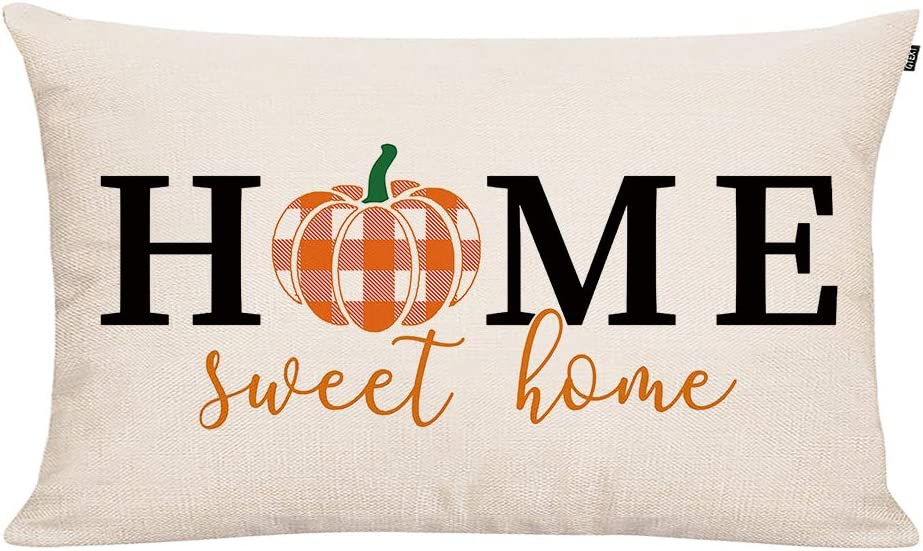 GTEXT Fall Throw Pillow Cover Autumn Decor Home Sweet Home Plaid Pumpkin Pillow Cover 20x12 inch Outdoor Pillow Linen Square Pillow Cover for Cushion,Sofa Fall Pillow Cover