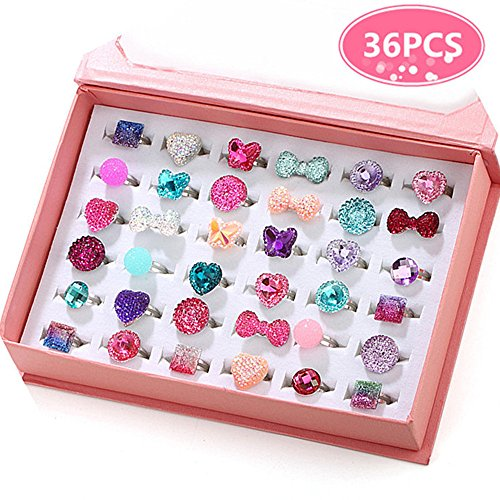 PinkSheep Little Girl Jewel Rings in Box, Adjustable, No Duplication, Girl Pretend Play and Dress Up Rings (36 Jewel Ring) -