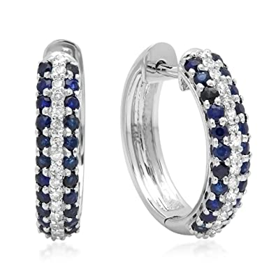 6665a135194 Image Unavailable. Image not available for. Color  14K White Gold Round  Blue Sapphire   White Diamond Ladies Pave Set Huggies Hoop Earrings