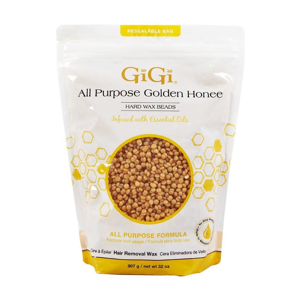 GiGi Hard Wax Beads, Golden Honee All Purpose Hair Removal Wax, no strip needed, 32 oz