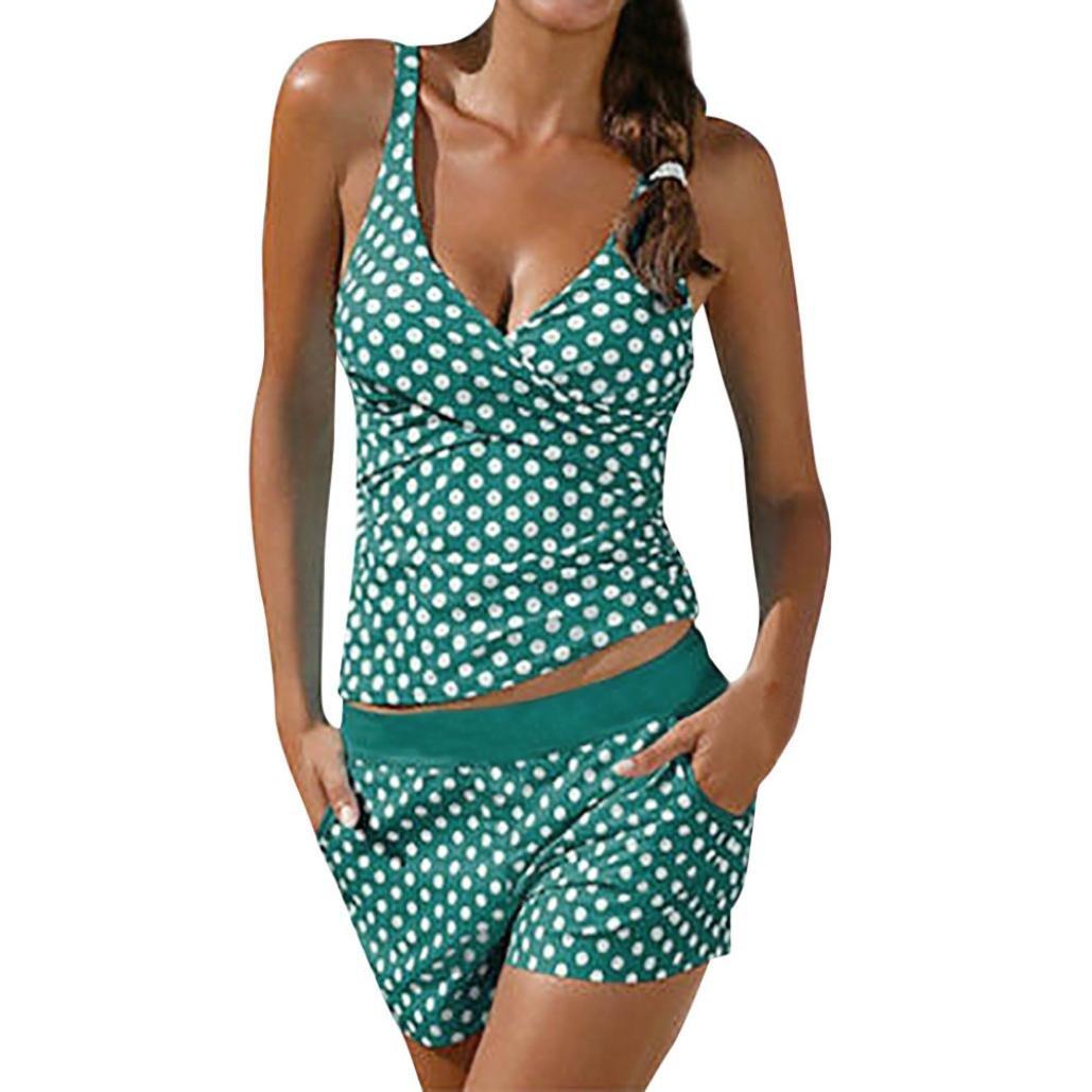 OverDose Damen Übergröße Punktdruck Bikini Sets Frauen Tankini Badeanzug Bikini Beachwear Bademode Gepolsterte Push Up Badeanzug