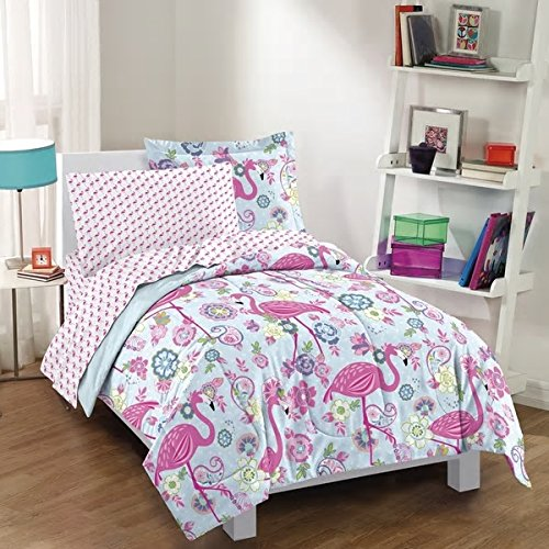 Bright Fun Pink Flamingo Twin 5-Piece Bed In A Bag With Sheet Set Beautiful Whimsical Flowers Pretty Colors Cute Bird Design Ultra Soft Cheerful Bedding Adorable Comforter Addition To Girls Bedroom