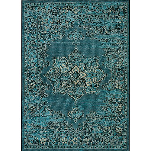 Safavieh Palazzo Collection PAL124-16213 Turquoise and Black Area Rug (8' x 11') by Safavieh