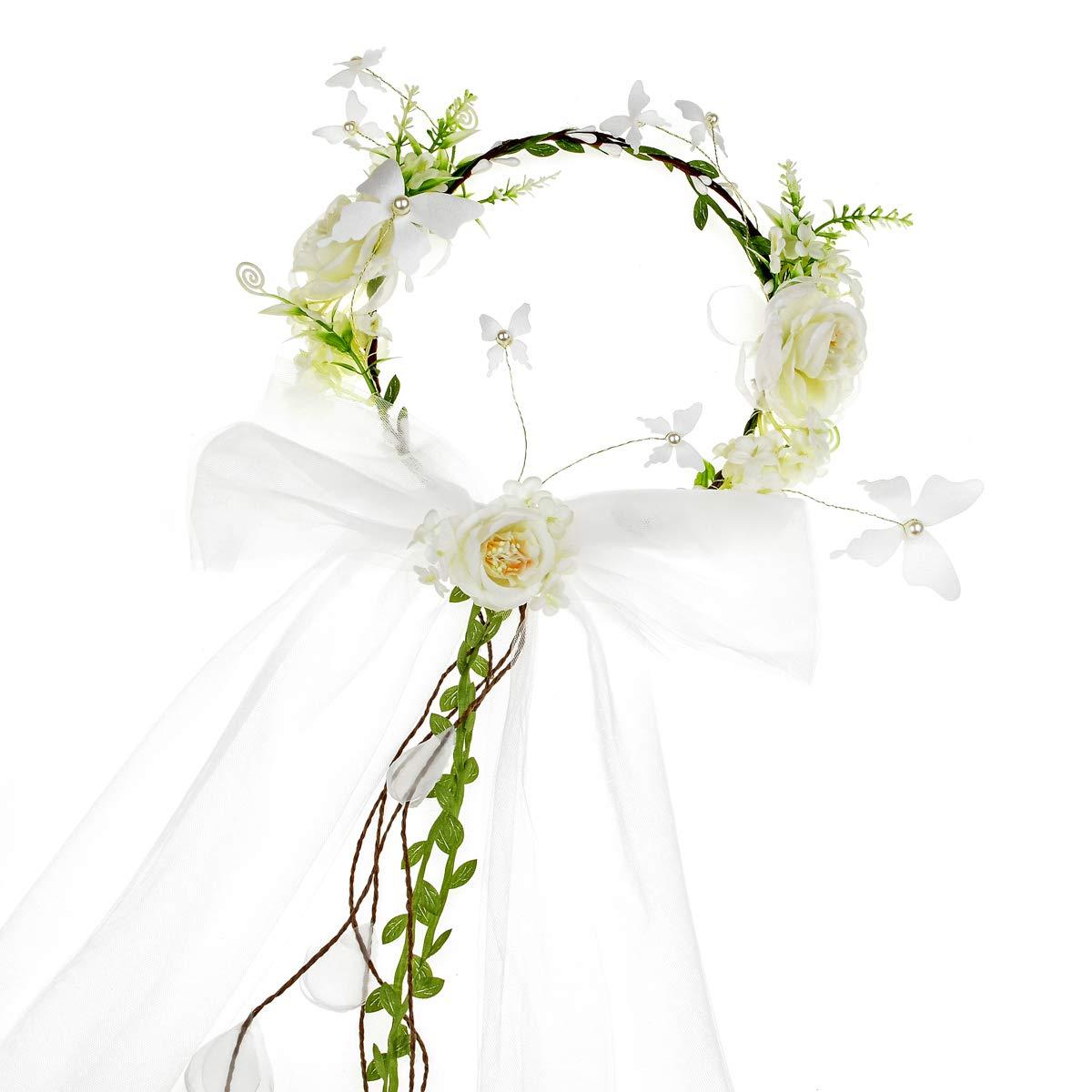 Funbase Silk Flower Crown Mantilla Vine Ribbon Headband Wedding