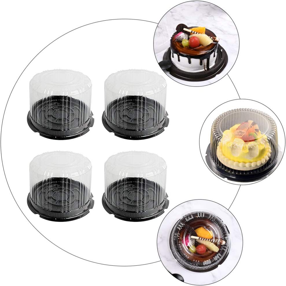 Hemoton 20pcs Mini Cake Box Clear Plastic Cookies Muffins Dome Box Mooncake Box with Clear Dome for Wedding Birthday Christmas Party Supplies