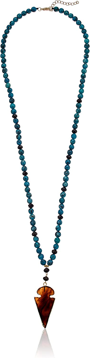 black and red blue Stone pendant necklace
