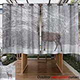 Outdoor Curtains for Patio Waterproof One Snow Covered Red Deer (Cervus Elaphus) with Beautiful Horns Stands Sideways Against A Snowy Forest and Snowflakes Re W84 x L72