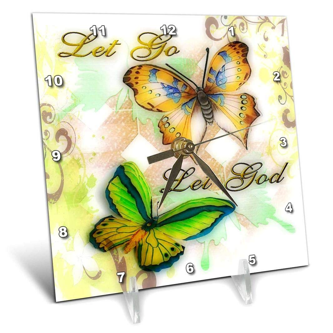 6 by 6-Inch 3dRose dc/_55923/_1 Let Go Let God Butterfly Digital Print-Desk Clock