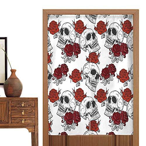 vanfan Linen Cotton Door Curtain Gothic Dead Skelet Figur Halloween Spooky Romantic Grey Doorway Curtain Tapestry33.5 Wx47 -