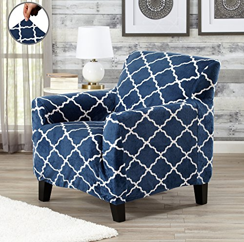 Great Bay Home Modern Velvet Plush Strapless Slipcover. Form Fit Stretch, Stylish Furniture Shield/Protector. Magnolia Collection Strapless Slipcover by Brand. (Chair, Navy)