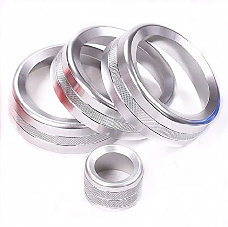 Coche volumen y pomos de aire acondicionado de aluminio accesorios juego de tapacubos de 4 piezas