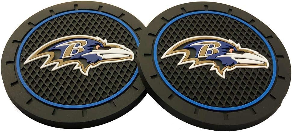 2pcs Baltimore Ravens Car Cup Holder Mats for NFL Fans 2.75 Inch Team Logo Anti Slip Silicone Car Coasters Fit All Vehicles