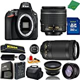 Great Value Bundle for D5600 DSLR – 18-55mm AF-P + 70-300mm AF-P + 32GB Memory + Wide Angle + Telephoto Lens + Case