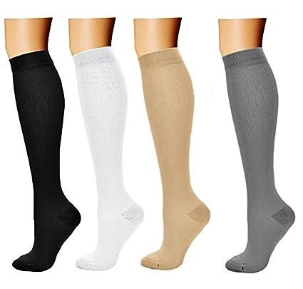 4 Par Calcetines Medias de compresión para Hombres y Mujeres Mejor circulación sanguínea, prevenir los