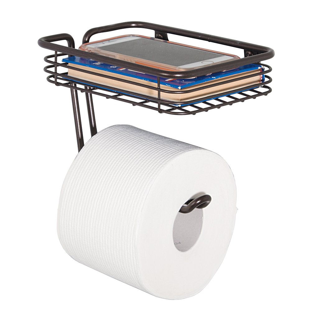 Mdesign Toilet Paper Holder With Shelf For Bathroom Wall