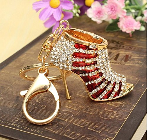 Crystal Rhinestone Diamante Red High Heel Shoe Decoration Chain for Phone Car Bag Key Ring Keychain Charm Gift - Perfect for Women Ladies Girls' Phone Key Bag (red&Gold) (Charms Diamante Gold)