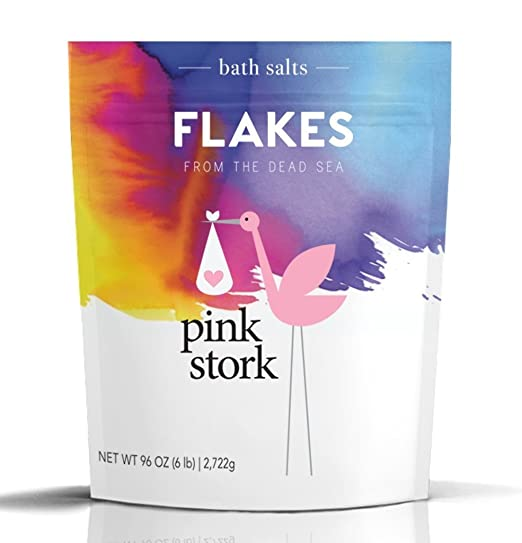 Pink Stork Flakes: Pregnancy Bath Salt –Organic Magnesium from Dead Sea - Morning Sickness, Energy Levels, Aches and Pains, Sleep Quality & more -Bath or Foot Soaks -Pure, Zero Fillers