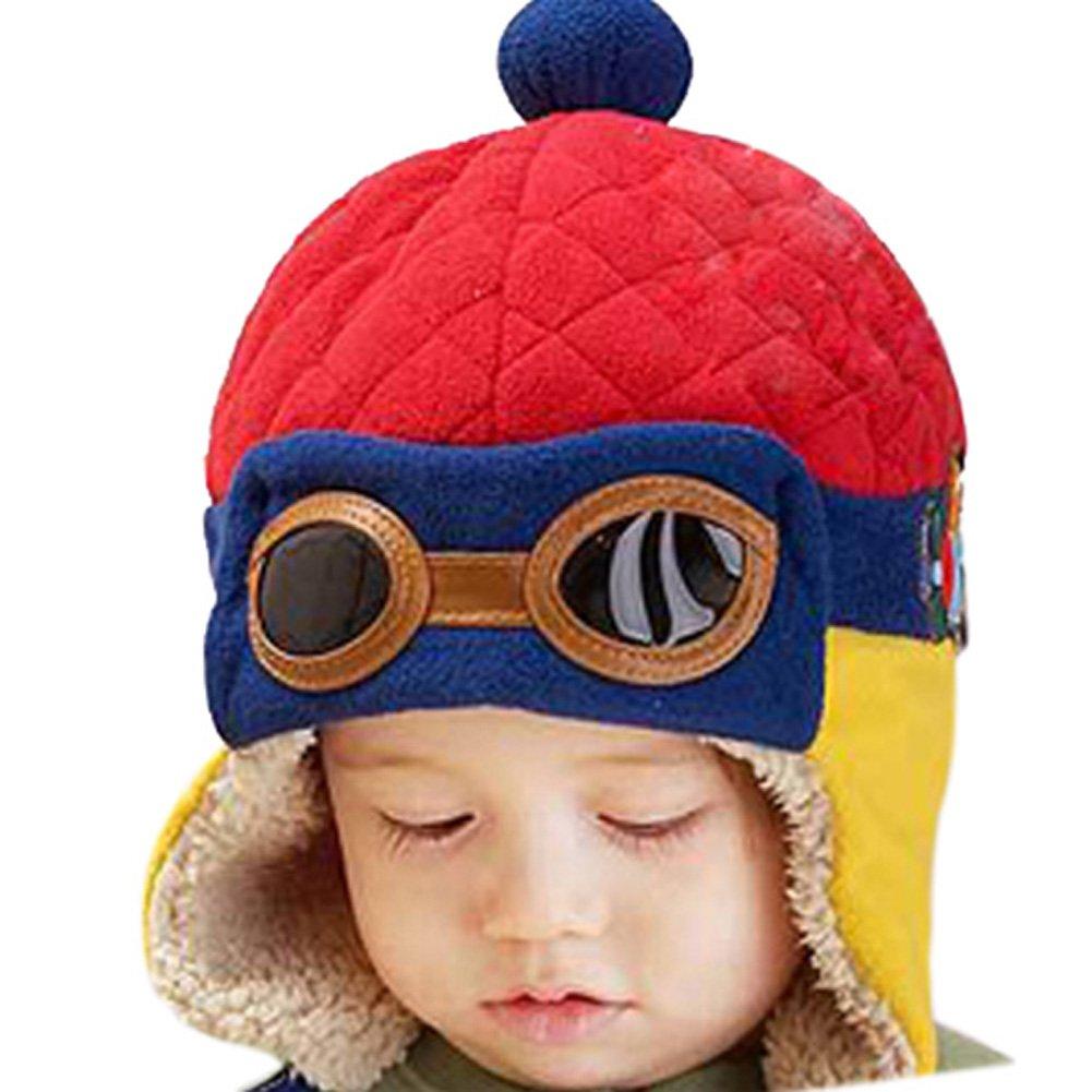 PanDaDa Baby Girls Boys Hats Winter Warm Cap Hat Beanie Pilot Aviator Crochet Earflap YHX-0428B