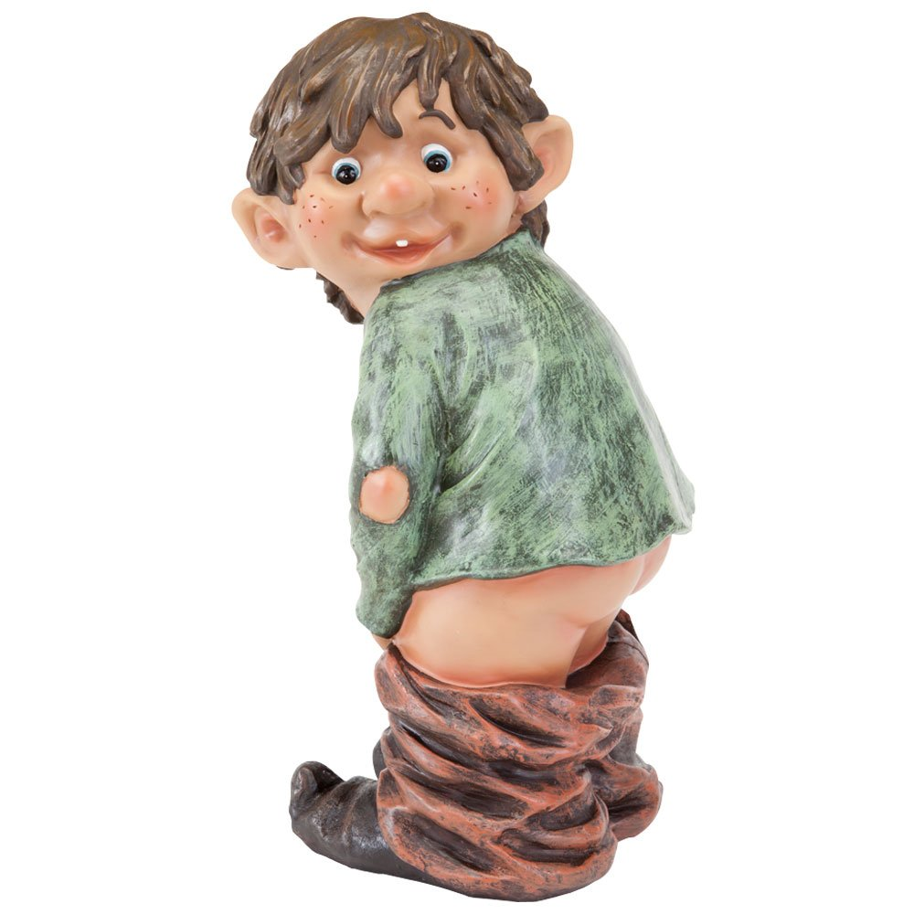 Bits and Pieces Caught with His Pants Down Garden Elf Statue- Naughty Garden Elf Yard Art - Funny Gnome/Elf Polyresin Statue Measures 13-1/2