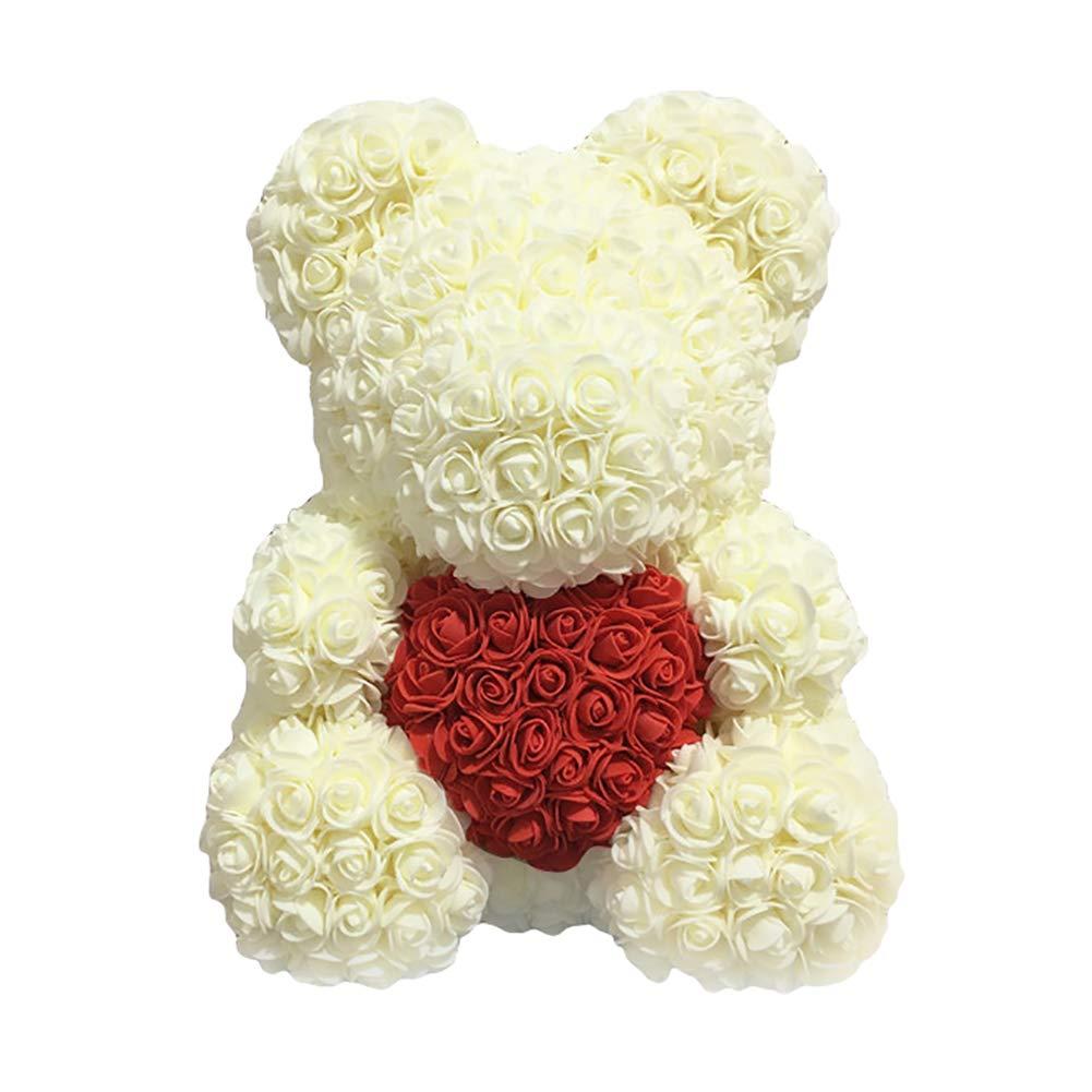 HsgbvictS ラブハートフォームローズフラワー ラブベア バレンタインデー 誕生日 ロマンチックギフト クマの形 ラブハートデザイン シミュレーションローズ U406T1G731I4714M5JR20M41 B07MJQBBMV ホワイト(Milk White)