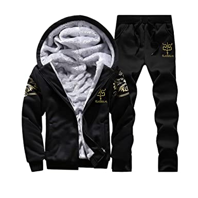 96753f044d8 Faionny Men Tracksuit Hooded Zipper Jacket Warm Fleece Sweatpants Hoodies+Pants  Sweatsuit Black