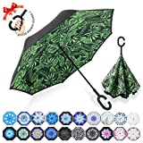: ZOMAKE Double Layer Inverted Umbrella Cars Reverse Umbrella, UV Protection Windproof Large Straight Umbrella for Car Rain Outdoor With C-Shaped Handle(Plantain)