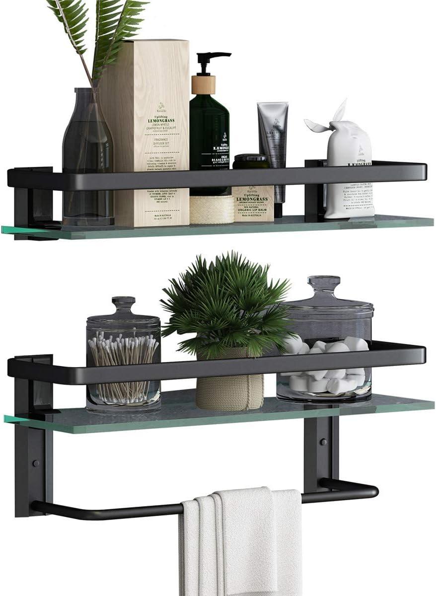 Black-Transparent glass Glass Bathroom Shelf with Towel Holder-VOLPONE Rustproof Metal Wall Mounted Storage Shelves for Kitchen Bathroom