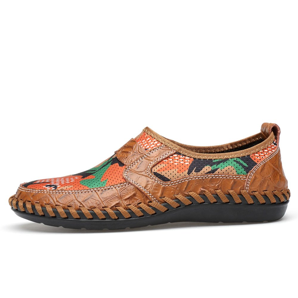 UPIShi Mesh Breathable Men Flats Casual Driving Moccasin Leather Loafers Lightweight Stitching Shoes Brown 45 by UPIShi (Image #3)
