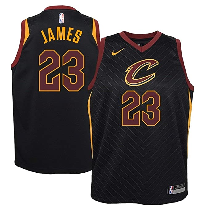 new concept 1df81 a9018 NIKE Lebron James Cleveland Cavaliers NBA Youth Black Alternate Dri-Fit  Swingman Statement Edition Icon Jersey