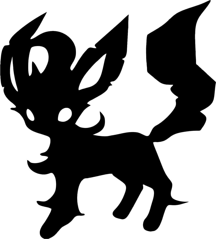 "Pokemon Leafeon 5"" Silhouette Decal Sticker for Cars Laptops Tablets Skateboard - BLACK"