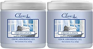Clear Air Odor Absorber Gel - Air Freshener and Odor Eliminator - Absorbs Odors in Bathrooms, Cars and RVs - Made with Natural Essential Oils - 2 Pack (2 x 15 OZ) (Fresh Linen)