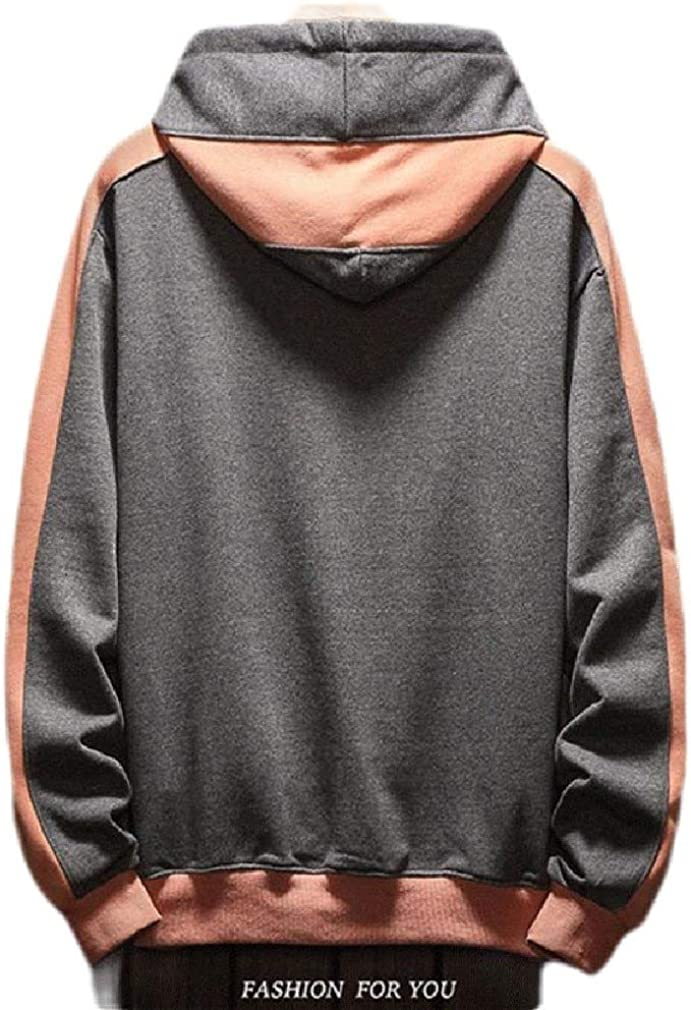 Wofupowga Men Hoodies Color Block Pocket Activewear Long Sleeve Drawstring Sweatshirts