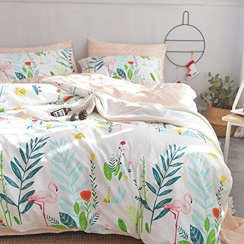 HIGHBUY Cotton Full Comforter Cover for Kids Girls White Peach Floral Flamingo Leave Printing Reversible Fresh Design Queen Bedding Sets for Children Boys with Chevron Stripe Pattern,Zipper Closure by HIGHBUY (Image #2)