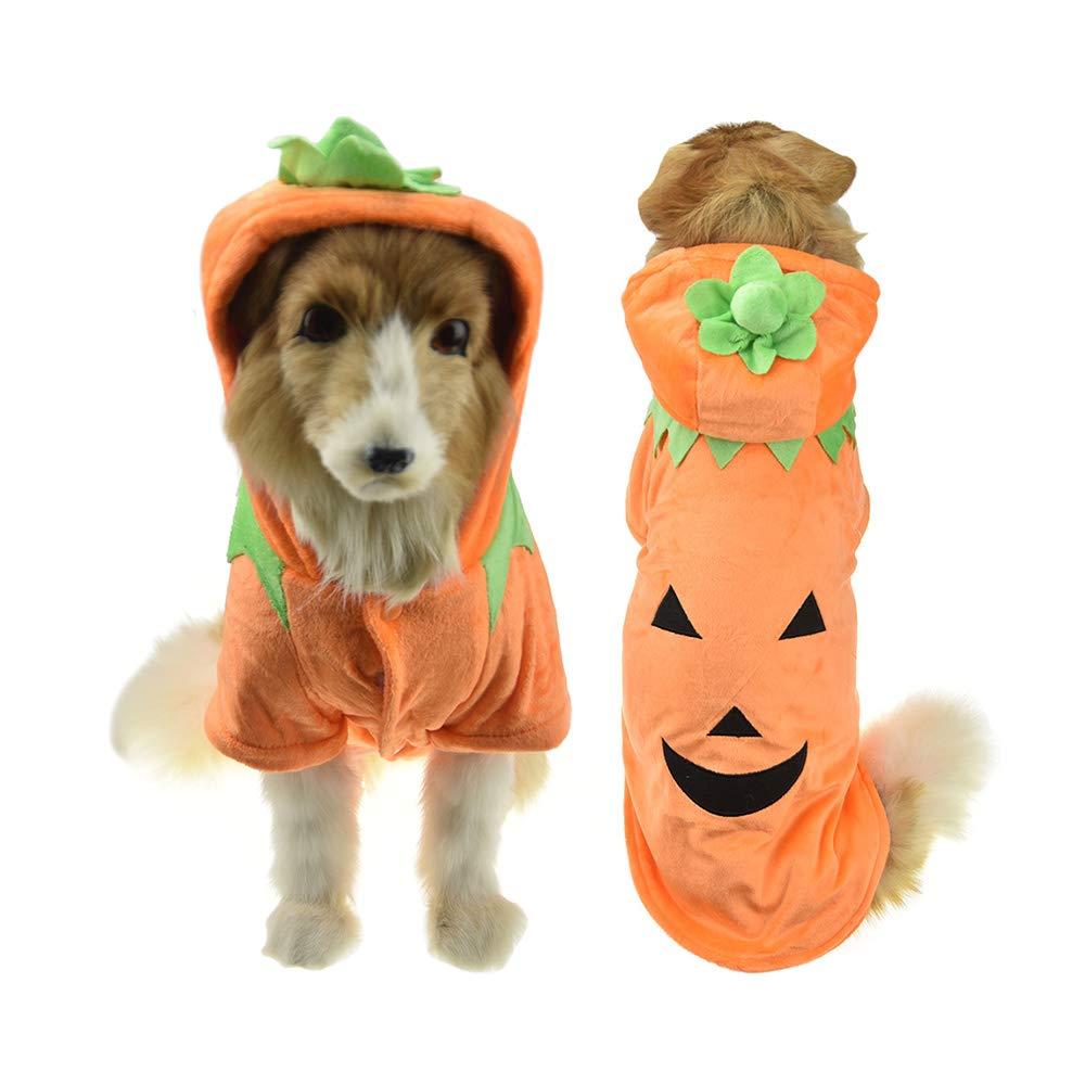 orange 4XL orange 4XL FLAdorepet Halloween Pet Cat Dog Pumpkin Costume Winter Warm Big Dog Puppy Cotton Padded Jacket Coat golden Retriever Funny Big Dog Clothes (4XL, orange)