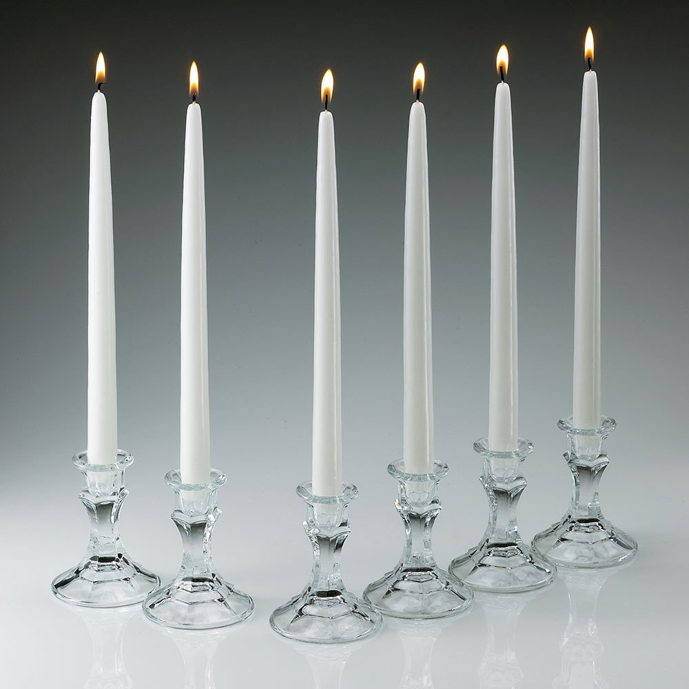 White Taper Candles 12 Inch Tall 3/4 Inch Thick Set of 12 Burn 10 Hours by Light In the Dark
