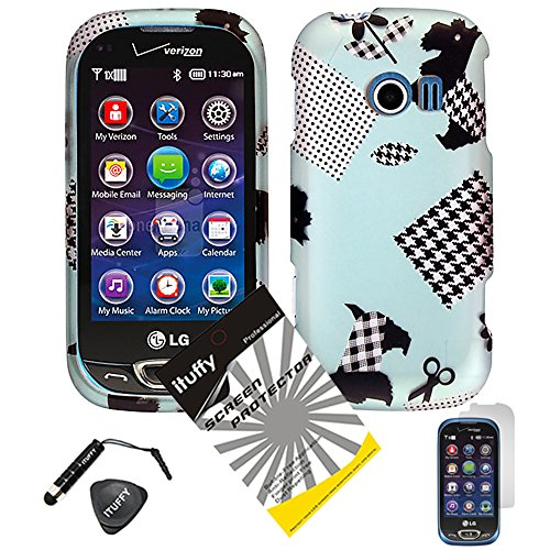 4 items Combo: ITUFFY (TM) LCD Screen Protector Film + Mini Stylus Pen + Case Opener + Blue Black Checker Plaid Polka Cloth Schizer Dog Design Rubberized Snap on Hard Shell Cover Faceplate Skin Phone Case for LG Extravert 2 VN280 (Plaid Dog) ()