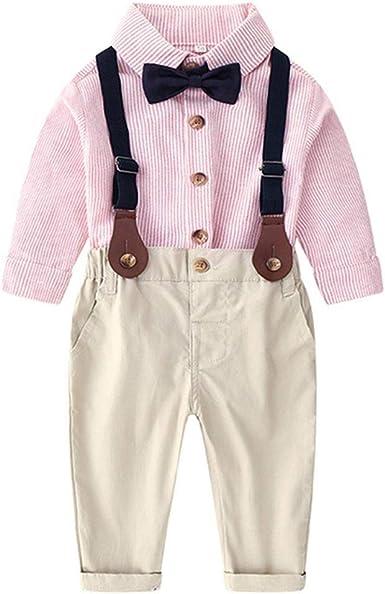 LENGIMA Bebé Niño Conjunto 2 Piezas Hidalgo Largo Manga Camisa+Liga Pantalones (Color : Pink, Size : 70): Amazon.es: Ropa y accesorios