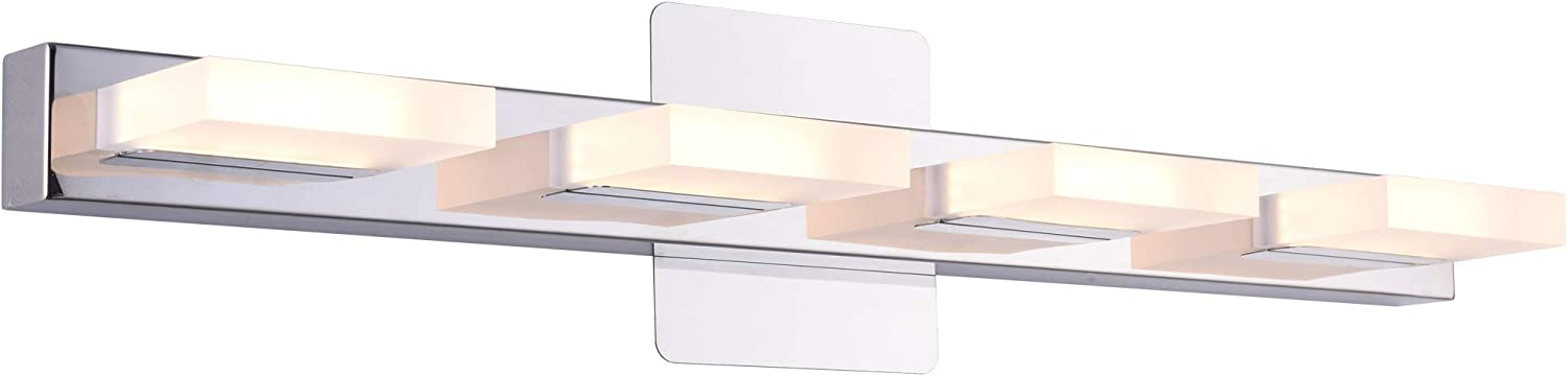 mirrea 24in Modern LED Vanity Light in 4 Lights Stainless Steel and Acrylic 21w Warm White 3000K