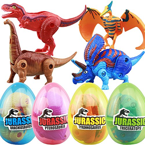 4 Pack Different Hatching Eggs Dinosaur Toys for 3+ Year Old Kids,Magic Egg that Hatch Dinosaurs Toy for Boy Girl Dino Fans,Deformation T-rex,Pterosaurs,Brachiosaurus,Triceratops(Random Color) ()