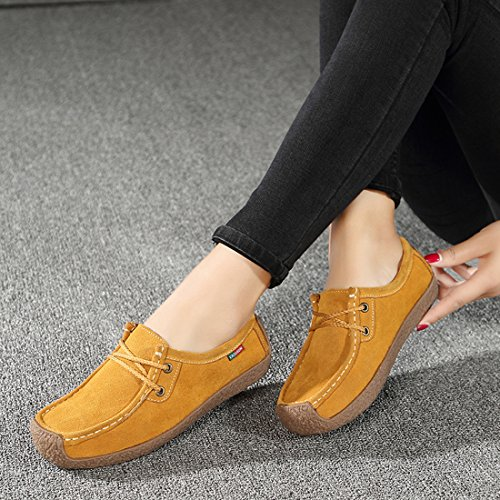 Z.SUO Women's Casual Soft Suede Comfortable Lace Up Round Toe Flat Loafers Shoes Yellow sfnGysjh