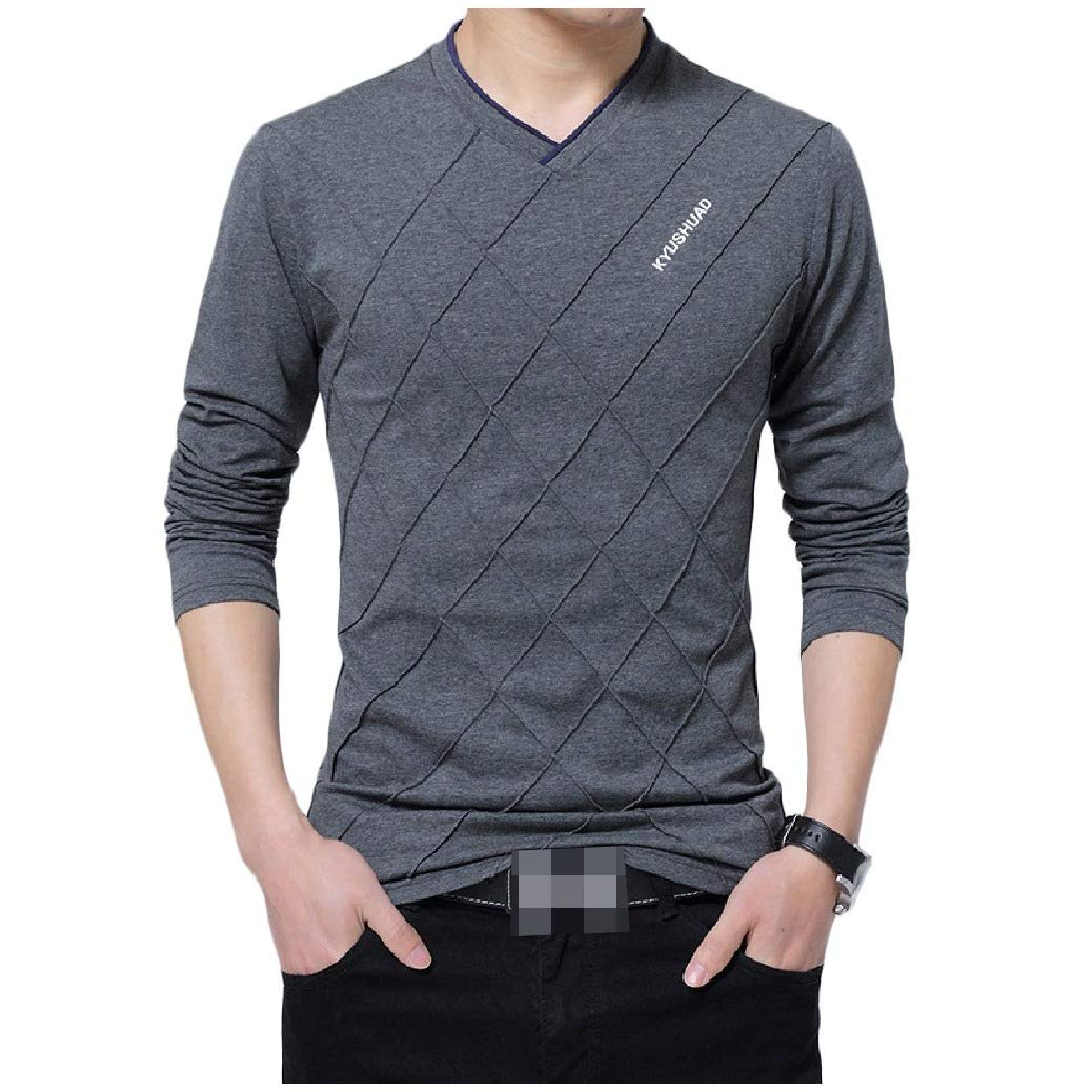 Coolred-Men Stitch Solid Plus-Size V Neck Pullover Long-Sleeve Tees Top