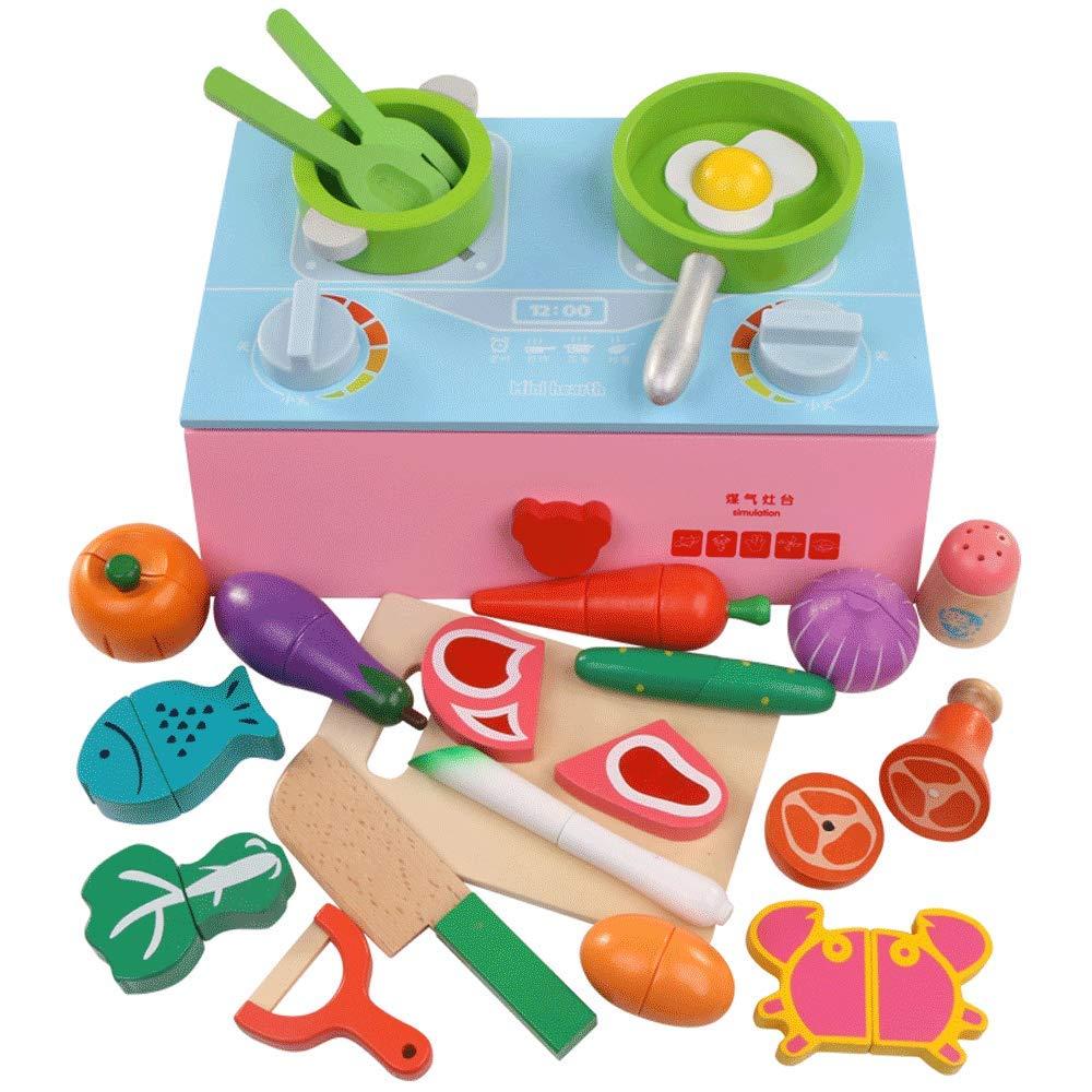 Little Toys Juguetes para niños Fruta Cortada Madera Simulación magnética Utensilios de Cocina Cocina Verduras Cortadas Desarrollo Intelectual para niños Juguetes de Cocina (Color : Pink)