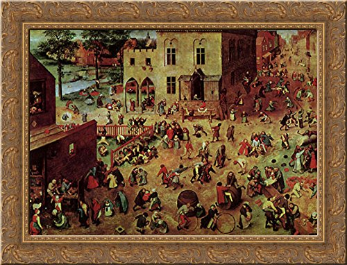 - Children's Games 24x20 Gold Ornate Wood Framed Canvas Art by Bruegel, Pieter the Elder