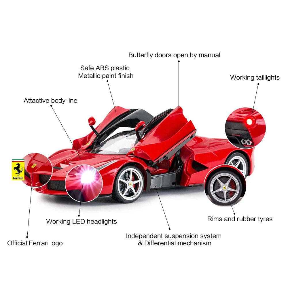 RASTAR RC Car   1/14 Scale Ferrari LaFerrari Radio Remote Control R/C Toy Car Model Vehicle for Boys Kids, Red, 13.3 x 5.9 x 3.3 inch by RASTAR (Image #5)