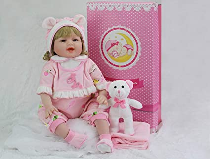 SWEET COLLECTION Realistic Reborn Baby Smile Girl 22in Handmade Soft Silicone Lifelike Silicone 6-Piece Pink Gift Set Baby Birthday/&Xmas Gift Tandi
